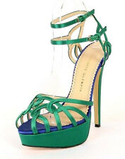 CHARLOTTE OLYMPIA $1,260 Green & Blue Satin URSULA Strappy Sandals 39