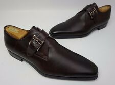 Magnanni Marco Monk Strap Burgundy Dark Red Loafers Leather Shoes Size 9.5 M