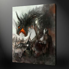 MEDIEVAL DRAGON FANTASY PICTURE POSTER BOX CANVAS PRINT 30 X 20 Inch WALL ART