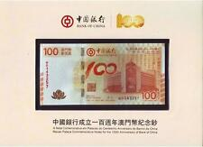 China Macau 2012 $100 Bank of China 100th Anniversary with folder (UNC)
