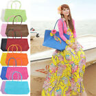 Womens Summer Weave Woven Straw Shoulder Tote Shopping Beach Big Bag Handbag