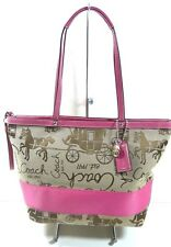 Coach Horse And Carriage tote Pink Bag F15618 Monogram Brown Canvas