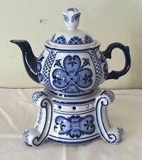 Bombay Company Cobalt Blue & White Teapot Server with Warmer Fabrique En Chine