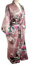 Kimono sexy dressing gown Japanese style Peacock Lingerie robe Lilac