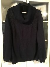 595 George Sz 24 Navy Chunky Knit Oversized Baggy Jumper PoloNeck Lace Shoulder