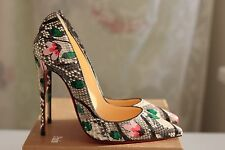 NEW CHRISTIAN LOUBOUTIN So Kate 120 Python Flower Snake Heels Pump Shoe 40,5