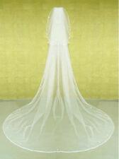 15v Long Ivory Cathedral Length Narrow Edge Pearl Bridal Wedding Veil w Blusher