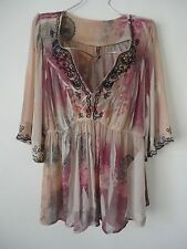 Womens Plus Size 3X Sublimated Boho Crochet Peasant Top Blouse Empire Waist