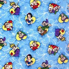 Flannel Disney Snow White Framed Characters Blue Cotton Fabric Fat Quarter