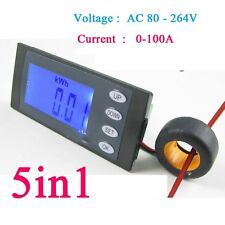 100A AC Digital power Meter Voltmeter Ammeter kWh Watt energy Time 110-220v