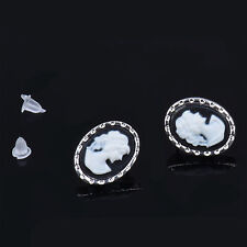 1 Pair New Women's Fashion Vintage Silver Queen Beauty Cameo Oval Stud Earrings