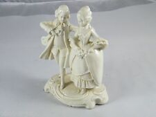 VINTAGE MADE IN THURINGIA WHITE PORCELAIN COLONIAL LADY WALKING WITH LUTE PLAYER