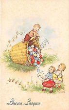 Cartolina - Postcard - Illustrata - Bosisio - Buona Pasqua - cesto di uova