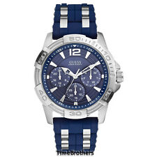 NEW GUESS WATCH for Men * Navy Dial and Silicone Strap Silver Tone Case U0366G2