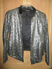 ELLA MOSS Size S NWT $228 SHEENA Sequin LEATHER COLLAR SILVER blazer Jacket