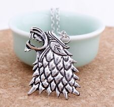 Game of Thrones Stark Direwolf Charm Vintage Silver Pendant Inspired Necklace