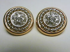Swarovski signed Pave /Goldtone Round Domed Clip Earrings-w/Silver Braid