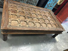 ANTIQUE INDIAN DOOR VINTAGE BROWN COFFEE TABLE HAND CARVED VINTAGE FURNITURE