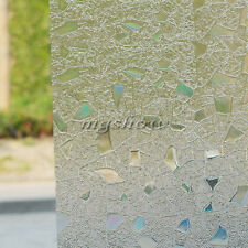 3D Static Cling Home Door Window Film Stained Glass Paper Frosted Decor Privacy