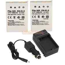 2* EN-EL5 Battery + Charger for Nikon Coolpix P80 P90 P3 P4 S10 P510 P520 P6000
