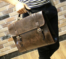 Mens Vintage Genuine Leather Messenger Shoulder Laptop Bag Briefcase  Brown