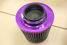 PURPLE 3'' INCH INLET HIGH FLOW SHORT RAM/COLD INTAKE ROUND CONE MESH AIR FILTER