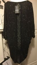 Quiz Curve Sparkly Top/dress With Back Lace Detail & Raglan 3/4 Sleeves Size 18