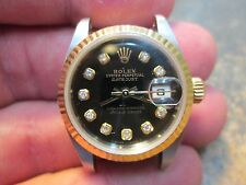 ROLEX DATEJUST 2-TONE RUNNING WRIST WATCH BLACK DIAMOND DIAL WI BAND BOX & PAPER