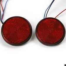 2X 24LED Red Motorcycle Round Reflector Tail Brake Turn Signal Light Lamp Bulbs