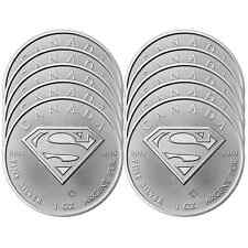 Lot of 10 - 2016 $5 Silver Canadian Superman 1 oz BU