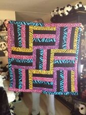 "Handmade Bright Colored Animal Prints Quilt, Approx 39""x39"""