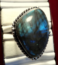 New BLUE LABRADORITE Ring sz 10 Large Table Cut  Triangle stone 925 Silver