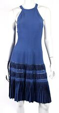 ALAIA Periwinkle Blue Ribbed Knit Fit & Flare Sleeveless Dress 38