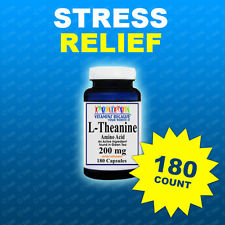 L-Theanine 200mg Potency 180 Caps Stress Relief-Purity Made USA # 1 Quality