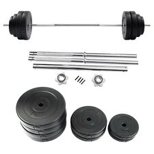 132 LB Pro Gym Barbell Dumbbell Weight Set Gym Lifting Exercise Curl Bar Workout