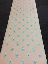 Salmon Jade Green & Blue Art Deco / nouveau Style Shell Vinyl Wallpaper