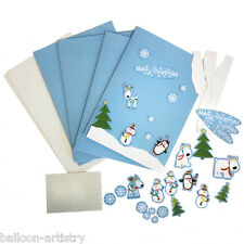 4 Merry Christmas Cheer Happy Snowman Party Card Making Craft Kits