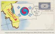"#921 ""KOREA"" ON HANDPAINTED FDC CACHET BY WEIGAND ARTIST BS2924"