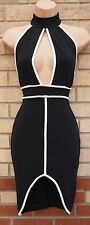 MISS LOOK BLACK WHITE TRIM DETAIL CUT OUT SEXY LONG NECK BODYCON TUBE DRESS 8 S