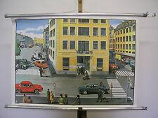 schöne alte Schulwandkarte Wandbild Polizeiwache Unfall BMW 90x63cm vintage 1965