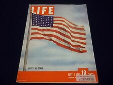 1942 JULY 6 LIFE MAGAZINE - UNITED WE STAND - WWII AMERICAN FLAG COVER - GG 1519