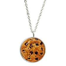 Chocolate Chip Cookie Pendant & Silver Plated Necklace biscuit choc drops BNIB