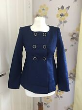NEW H&M NAVY BLUE COLLARLESS COTTON DOUBLE BREASTED COAT - NAUTICAL - UK 8