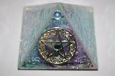 """2""""  Pyramid Box with pentacle and stone crystal"""