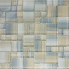 SAMPLE- Beige Cream Hand Painted Glass Pattern Mosaic Tile Kitchen Backsplash