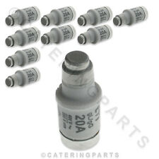 PACK OF 10 x FUSE LINKS / CERAMIC BOTTLE FUSES TYPE D02 20A E18 UNIVERSAL PART