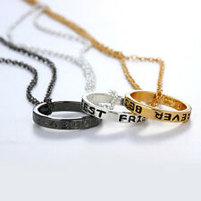 3pcs Best Friend Forever BFF Engraved Circle Ring Pendant Friendship Necklace