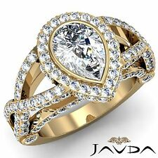 Halo Pave Set Pear Cut Diamond Engagement Ring GIA I VS2 18k Yellow Gold 2.86ct