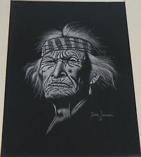 Original scratchboard old indian chief big drawing Navajo artist JIMMIE SANDOVAL