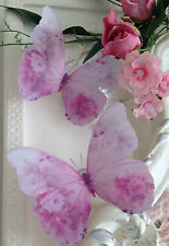 4 Stunning Pink Shabby Rose 3D Butterflies Butterfly Gifts Decals Accessories